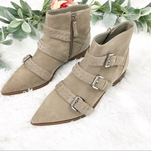 Nine West Tan Suede Seraphim Buckle Ankle Boots